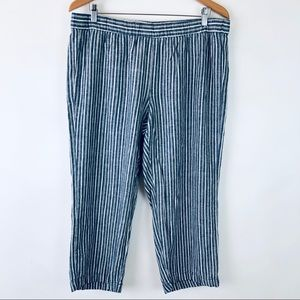 Old Navy Striped Linen Blend Pull On Cropped Pants